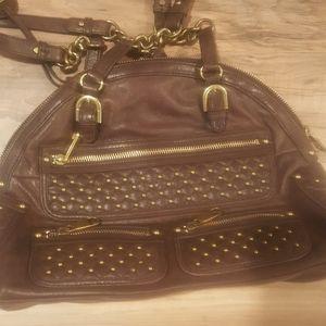 Badgley Mischka genuine leather brown purse handba